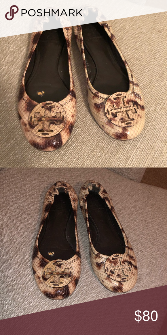 4ace86208 Tory Burch flats Snake skin leopard print. Goes with everything! Slight  wear and tear on the inside from my foot