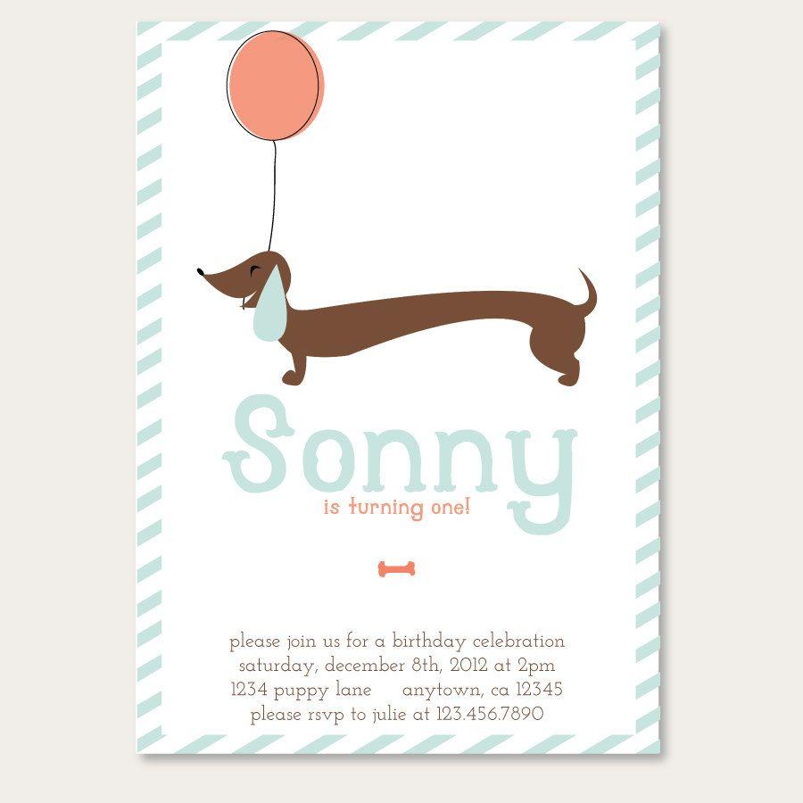 Printable Dachshund Puppy Party Birthday Party Invitation. $11.99 ...