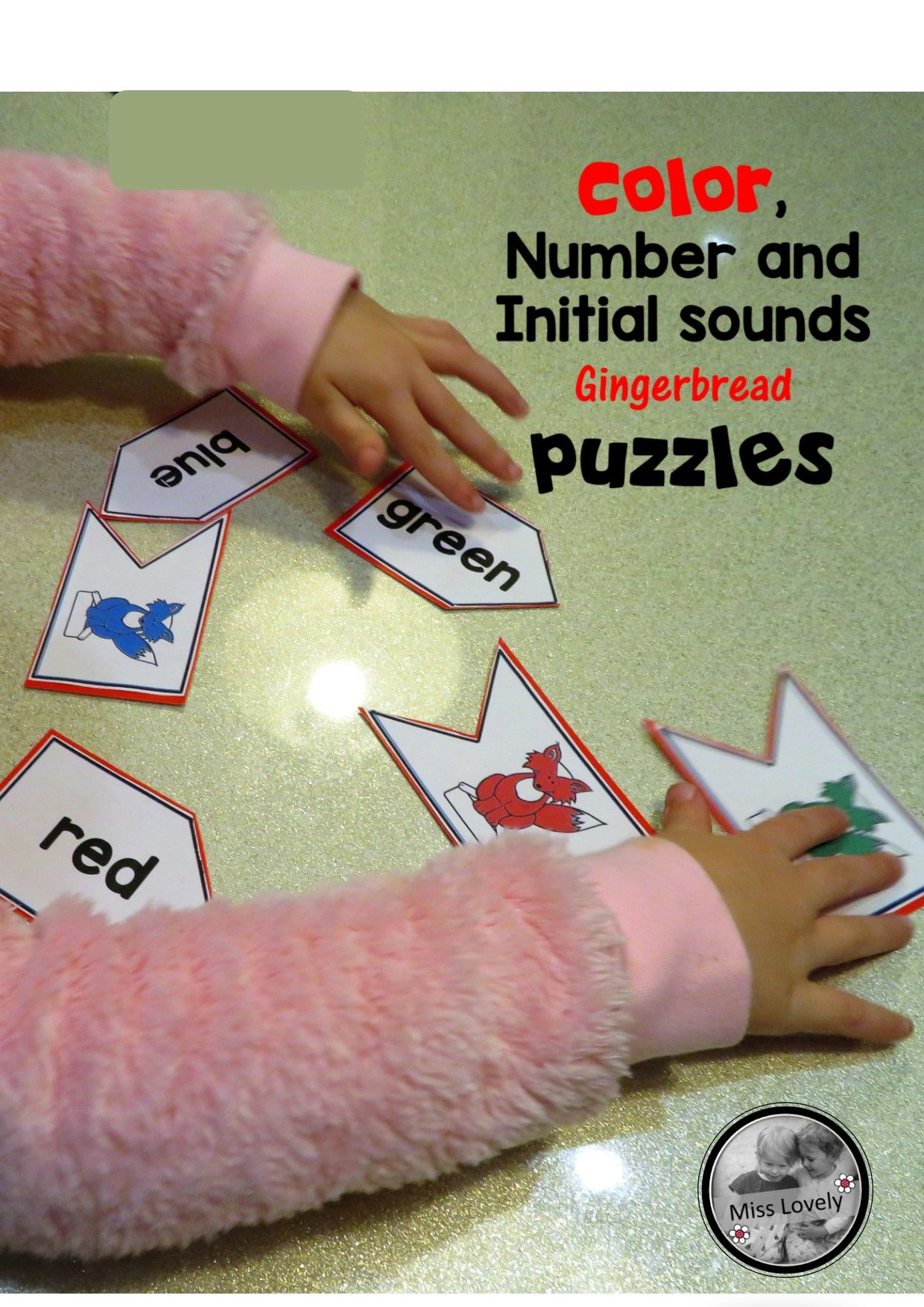 Color Number And Initial Sounds Gingerbread Puzzles