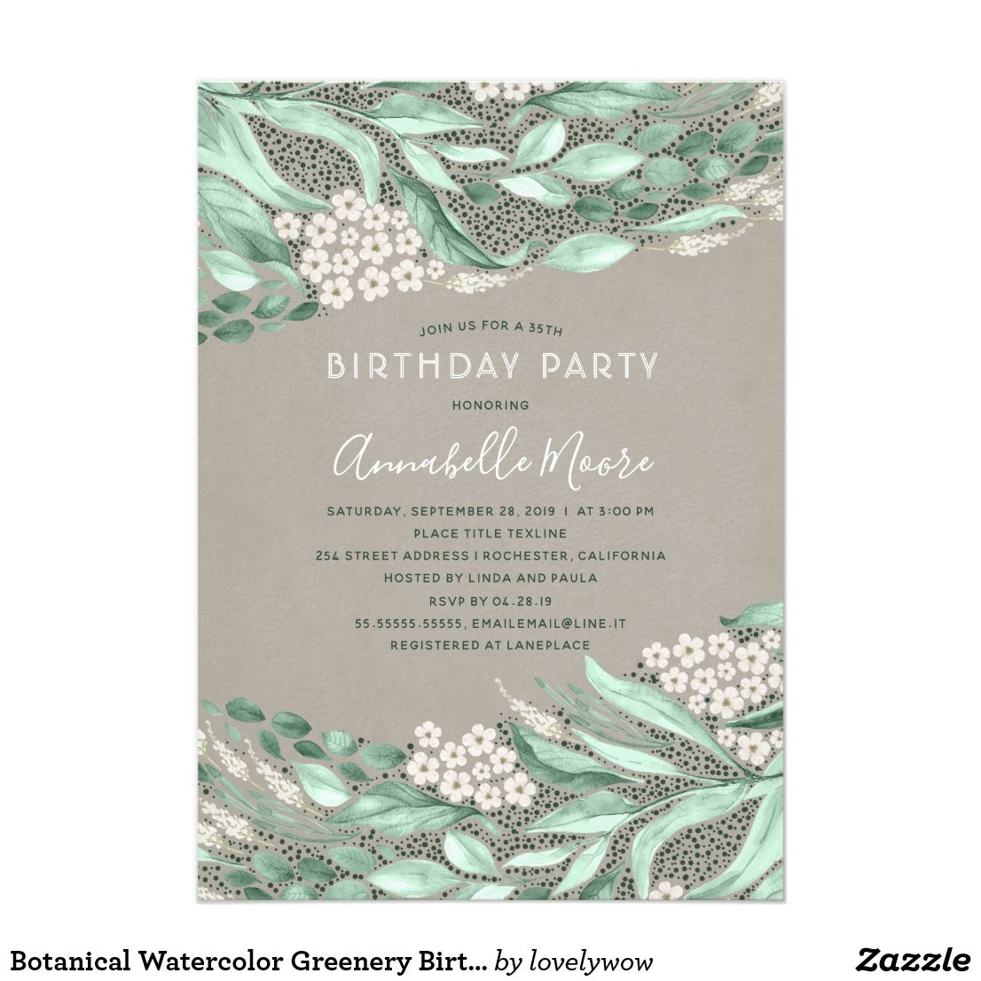 Botanical Watercolor Greenery Birthday Party Invitation In 2019