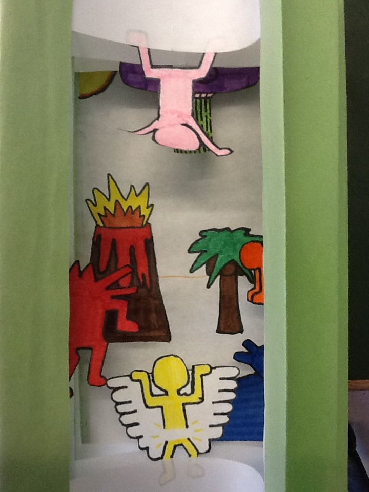 Pop Art Tunnel Book.  Principle of unity.  Students build their own tunnel book and include the characters from Keith Haring artwork to tell a story.  Construction paper and markers.