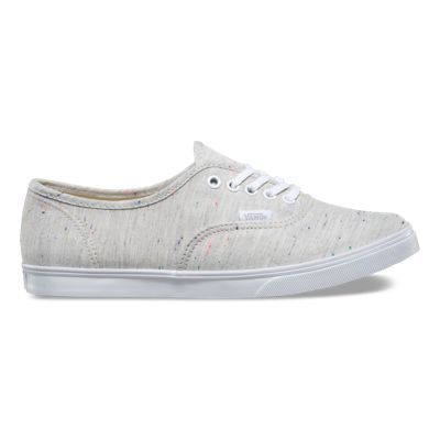 The Speckle Jersey Authentic Lo Pro, a low top lace-up with a slim silhouette, features speckled jersey textile uppers with low sidewalls, metal eyelets, and low profile micro waffle outsoles for a lightweight feel.