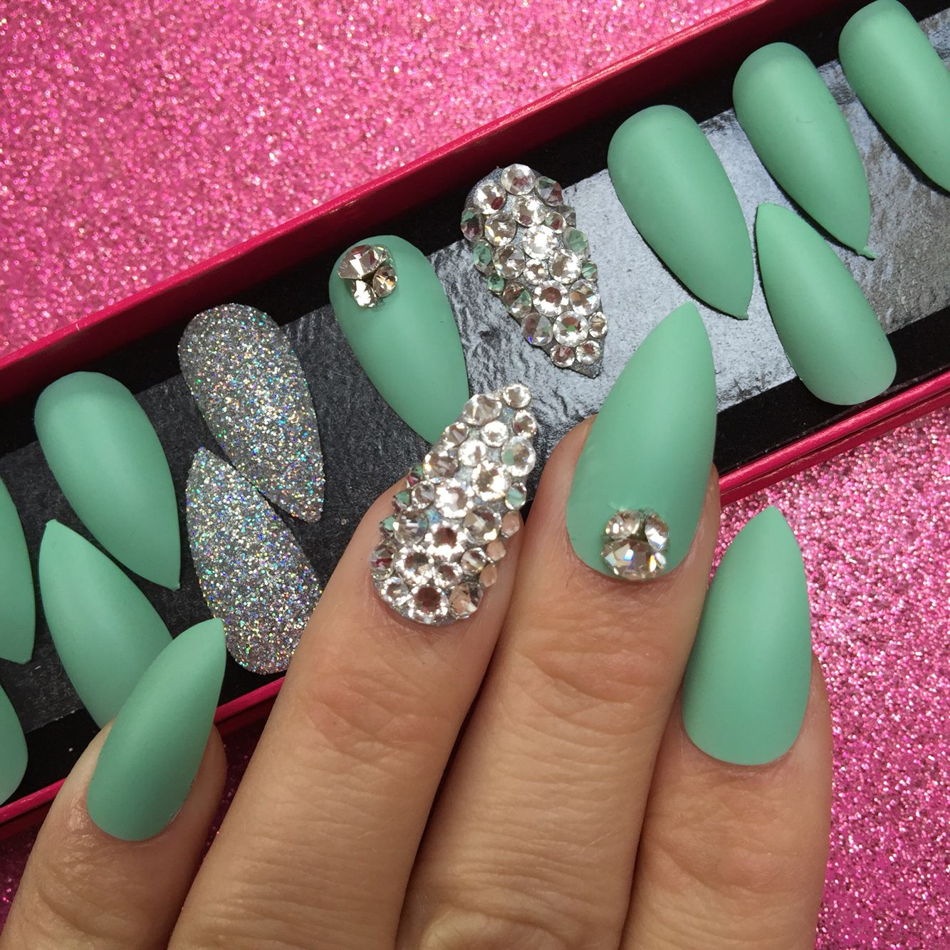 Mint Green Prom Nail: Prom Nails : Matte Mint Nails With Swarovski Crystals. Www