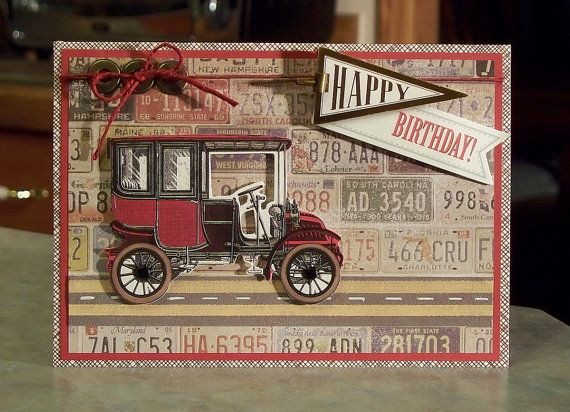 Vintage Birthday Cards For Him ~ Masculine birthday card using anna griffin products antique car