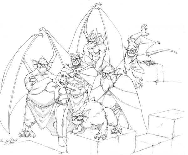 Another Nice Black And White Pic Monster Coloring Pages Gargoyles Gargoyles Disney