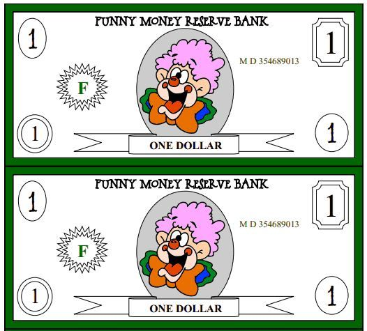 picture relating to Printable Funny Money known as Absolutely free Amusing Dollars PRINTABLE~ This clown-themed cash is