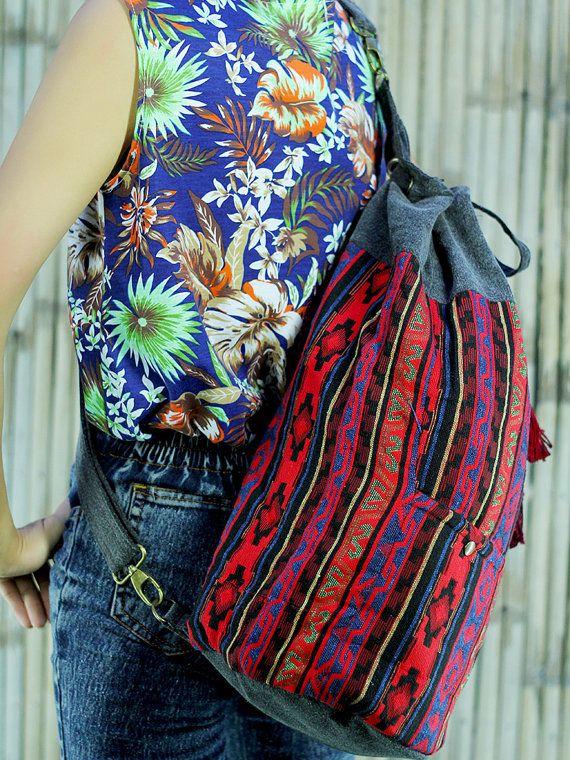 Big Red ikat abstract tribal native design Drawstring Bag/ Ethnic Bag/ Holiday Bag / Hippie / Boho/ Folk / Gypsy / Handwoven/ Tapestry
