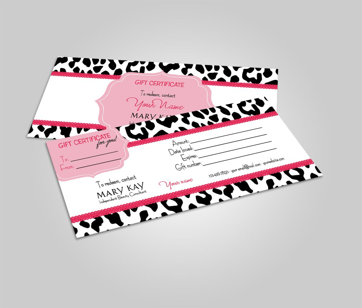 Mary Kay Gift Certificate Gift Card Animal Print Mary Kay