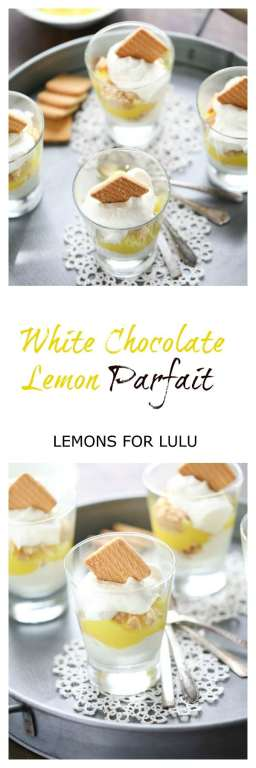 Lemon Pie filling is tucked between easy white chocolate mousse in this simple parfait dessert. lemonsforlulu.com