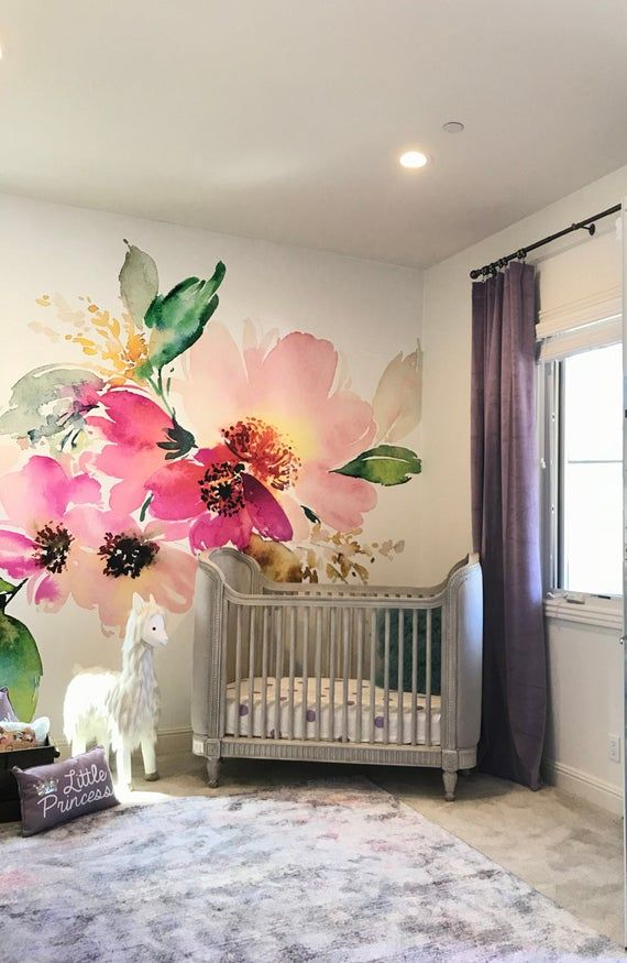 removable wallpaper mural peel stick flowers watercolor on wall murals id=90034