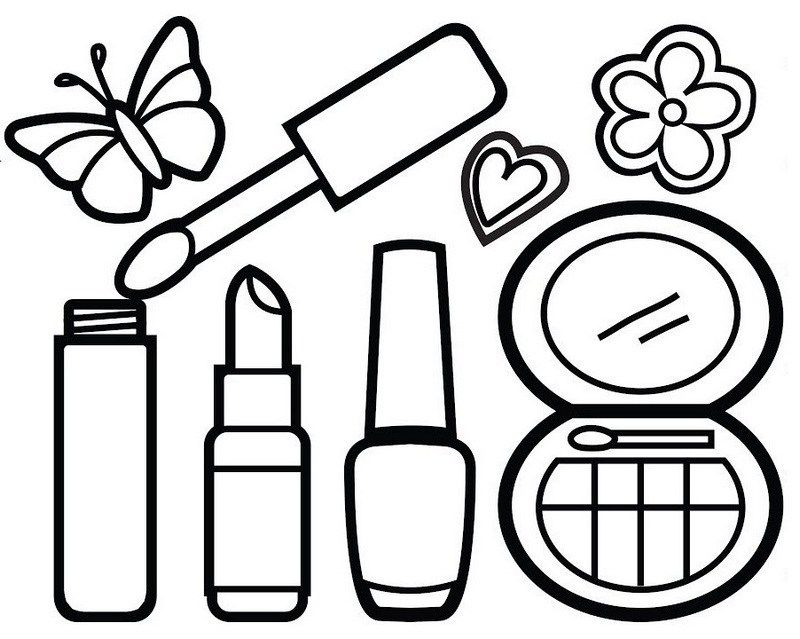 Makeup And Beauty Kit Coloring Sheets For Your Little Princess
