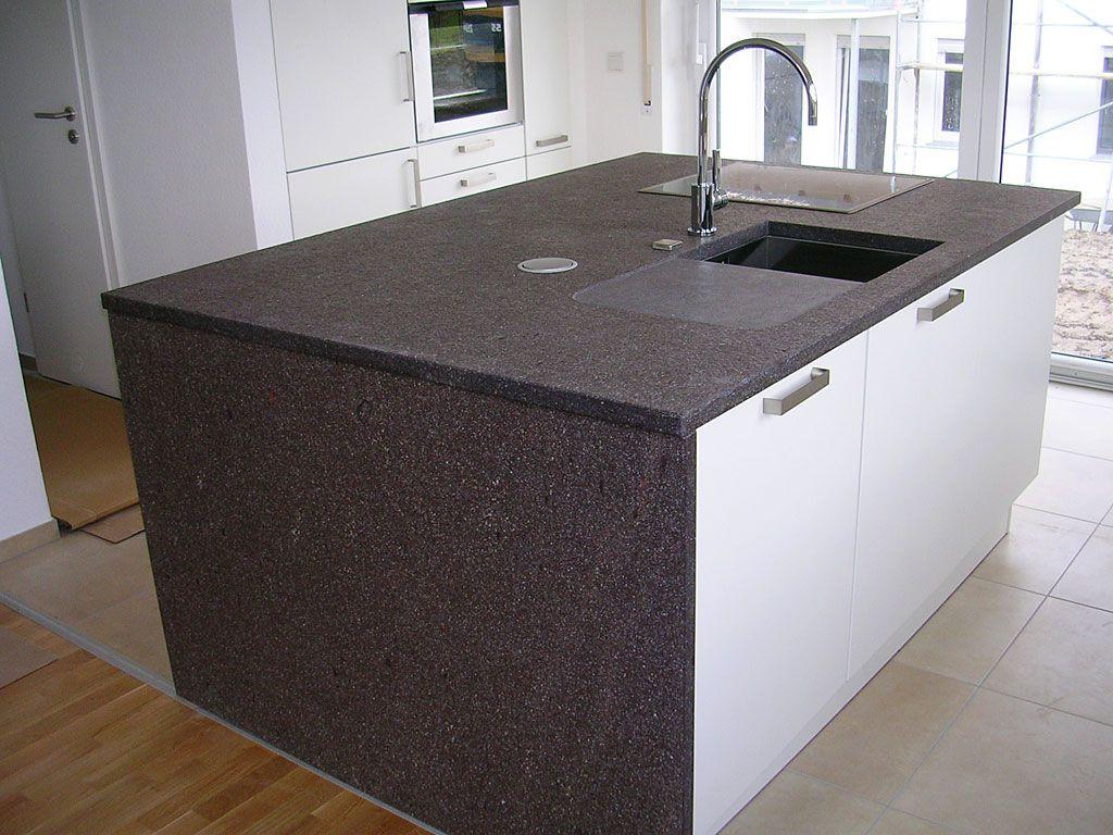 Kücheninsel mit Porphyr-Arbeitsplatte - Küchenarbeitsplatte ...