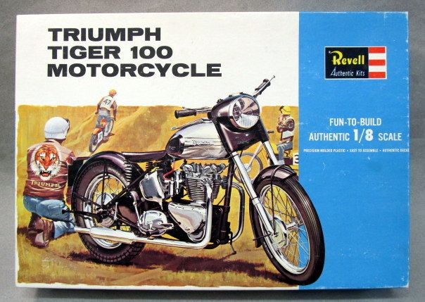 revell h-1231:300. triumph tiger 100 motorcycle. large 1:8 scale