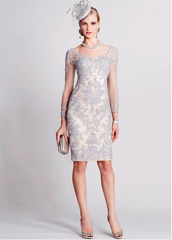 8c97ad2e96 Wonderful Tulle V-neck Neckline Knee-length Sheath Mother Of The Bride  Dresses With Beaded Lace Appliques