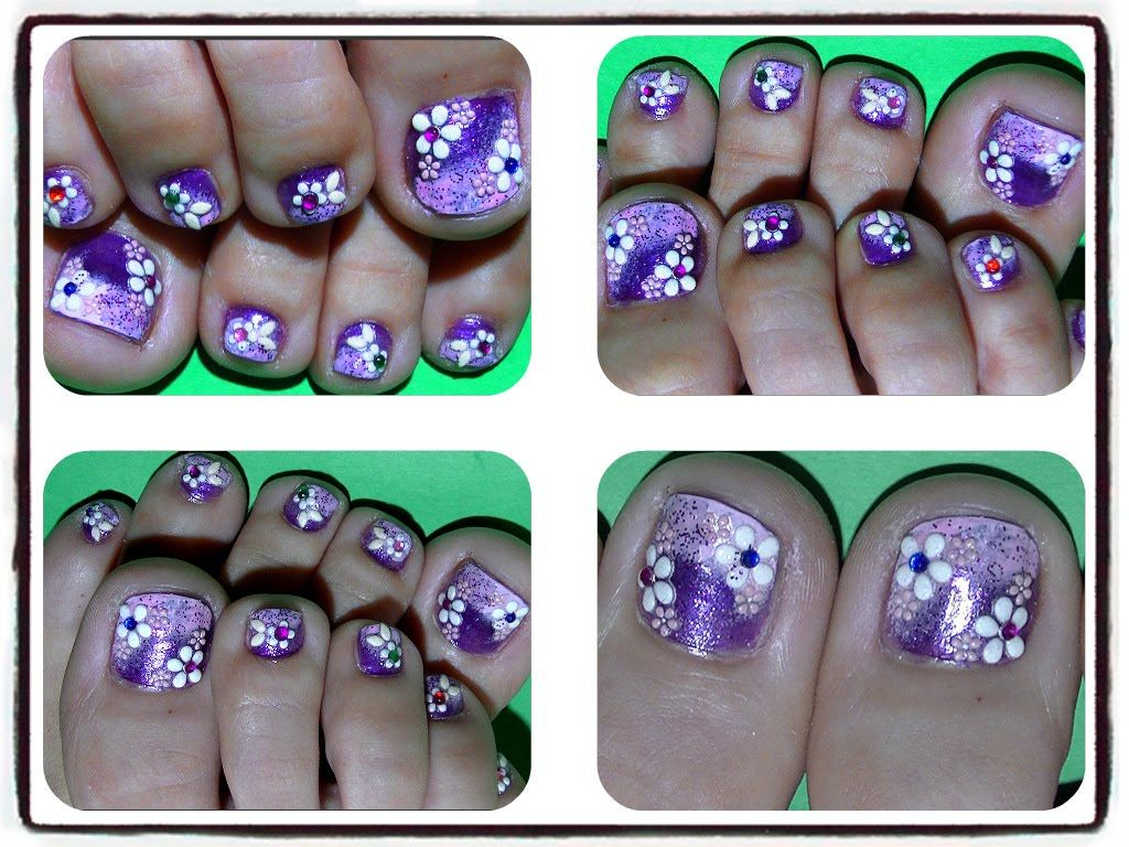 3d Floral Toe Nail Design Nails Toes Designs To Re Create Diy
