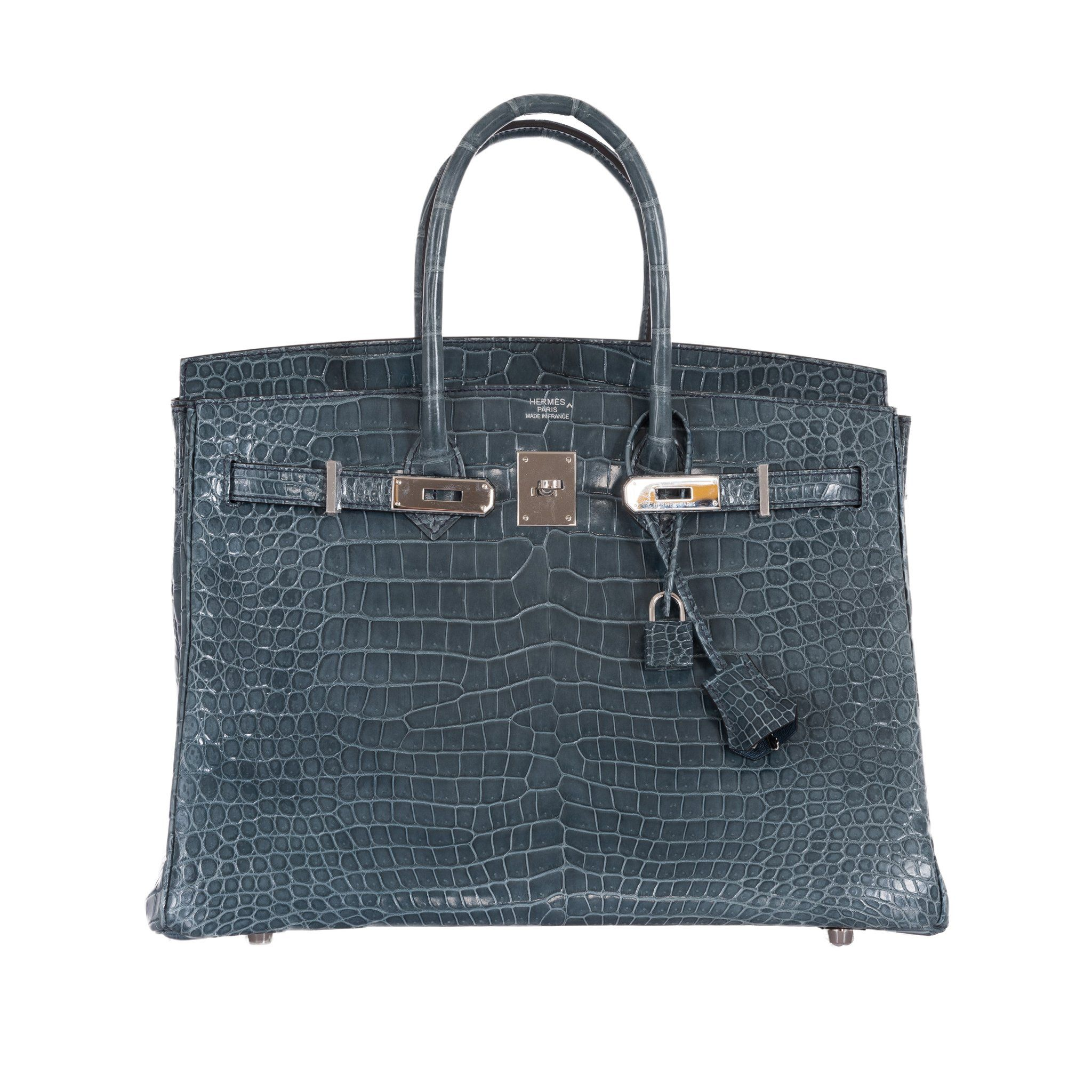 c7ff8f9422 Hermes Birkin 35 Blue Jean Crocodile Porosus Palladium Hardware-Hermes -JaneFinds