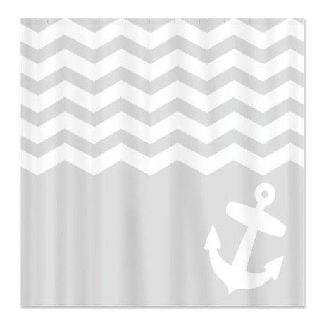 grey and white chevron shower curtain. Nautical Gray chevron anchor Shower Curtain  Anchor shower