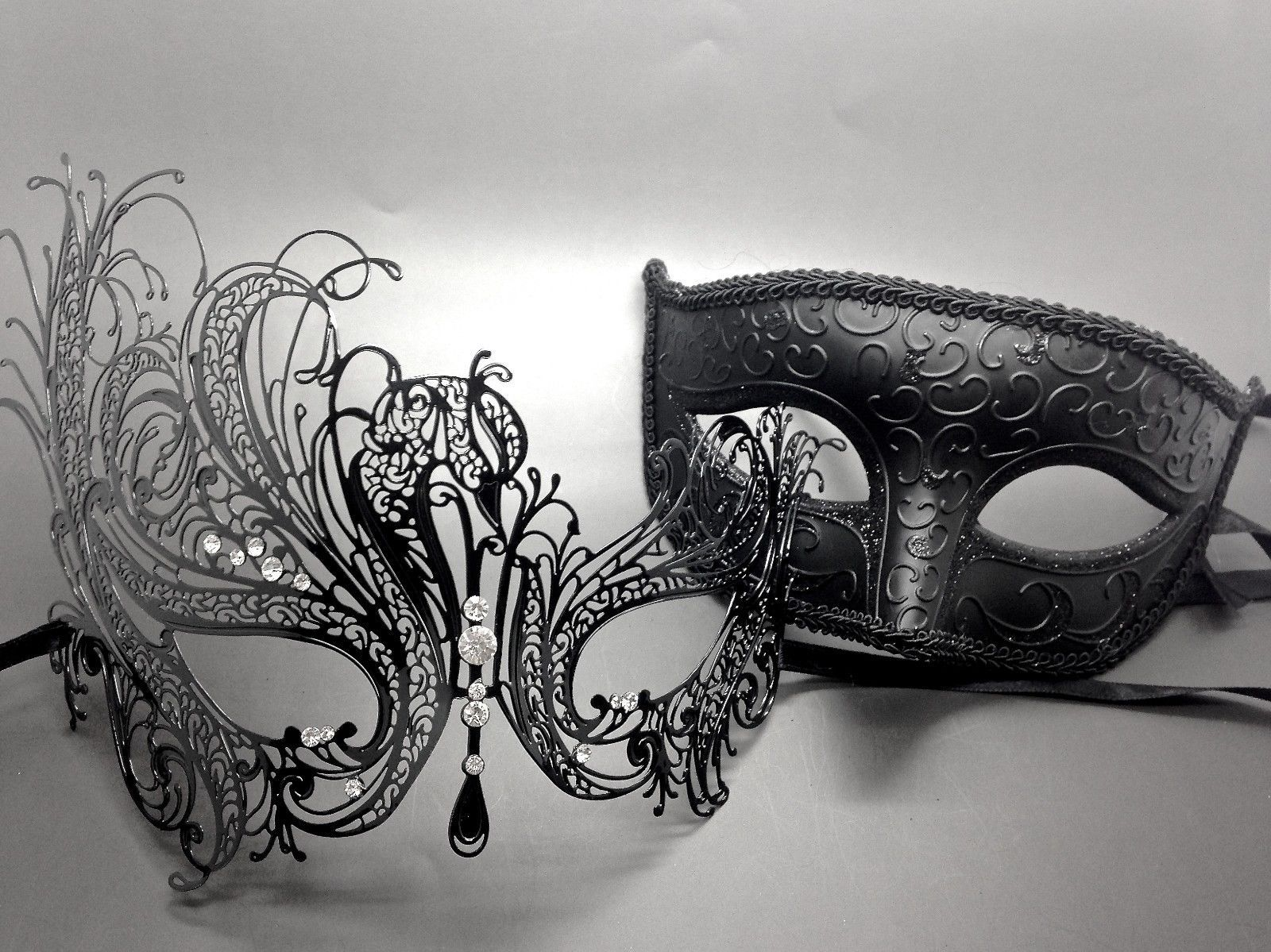 27e6d8f7a190 Men Women Couple Black Metal and Glitter Venetian Masquerade Ball Party Mask  | eBay