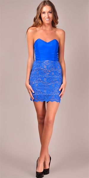 Jennifer Hope - Strapless Colorblock Lace Dress - Cobalt