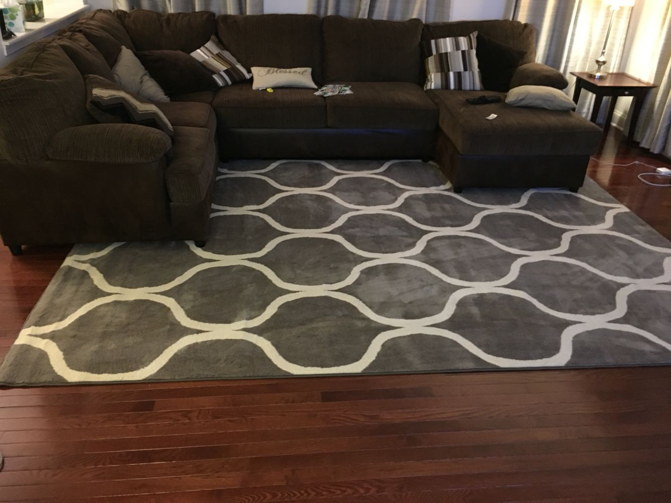 Gray rug with brown sofa sectional home pinterest for Rug for sectional sofa