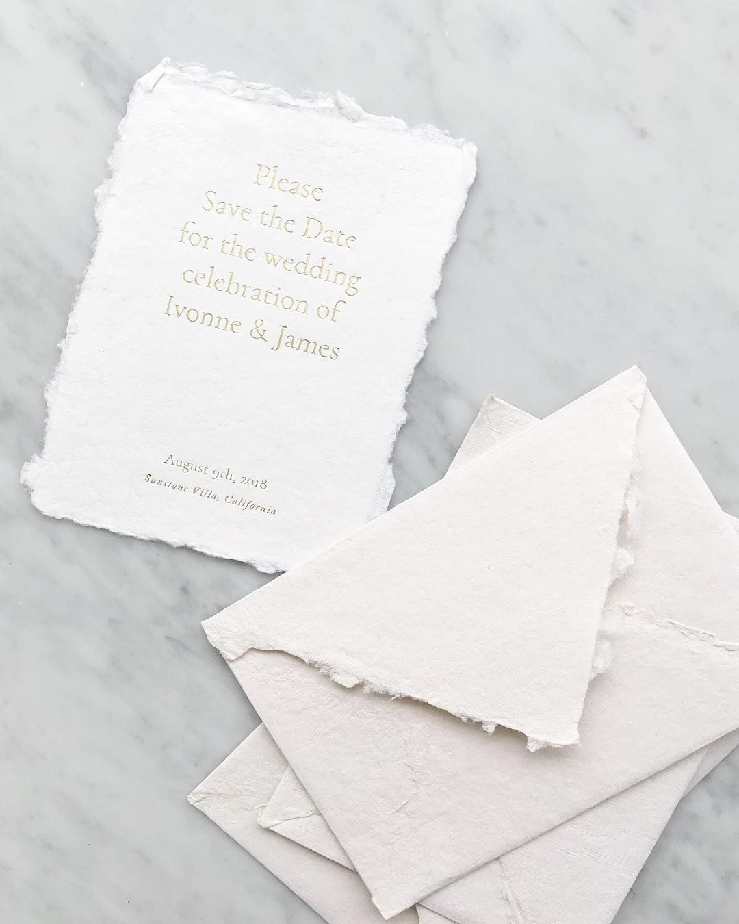 Gold Foil And Handmade Paper Save The Dates Are Stuttgart
