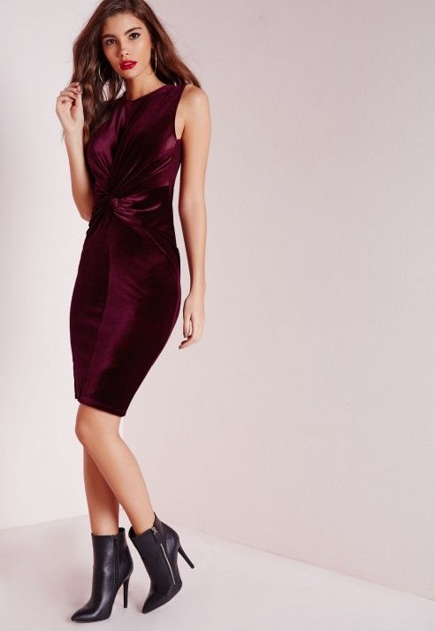 8c0eb12dad Knot Front Velvet bodycon dress Oxblood - Dresses - Midi Dresses - Bodycon  Dresses - Missguided
