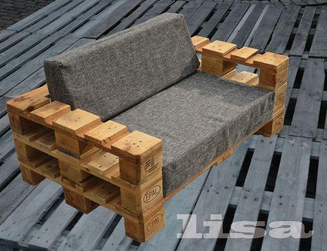 Gartenmöbel design  Lounge Gartenmöbel 2-Sitzer Palettenmöbel, Terrasse vintage Design ...