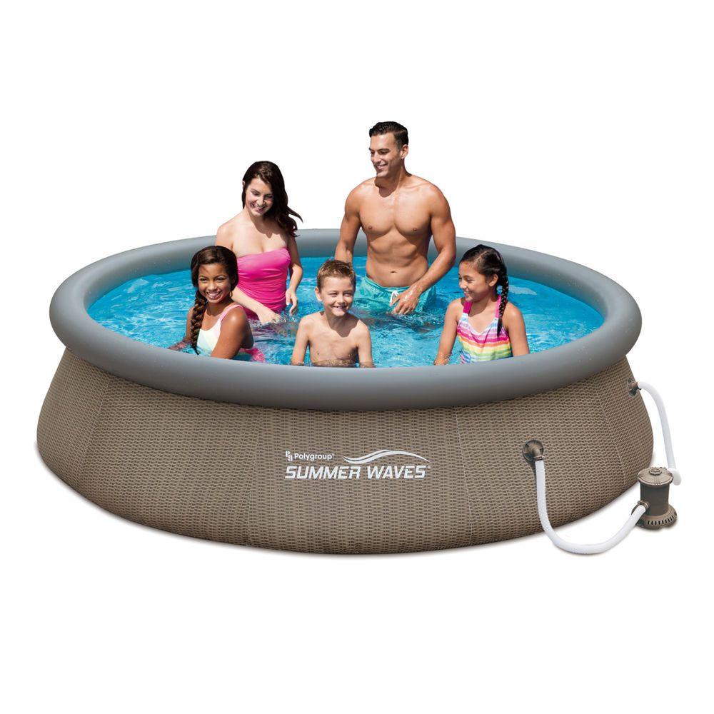 Swimming Pool Set With Basket Weave Wicker Print Filter Pump System 10 X30 Swim Summerwaves Swimming Pools Above Ground Swimming Pools Summer Waves
