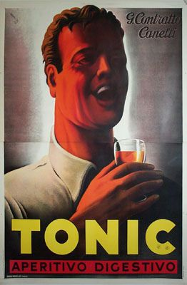ITALY MASTINO ACQUAVITE GIALLA RED DOG ALCOHOL DRINK VINTAGE POSTER REPRO