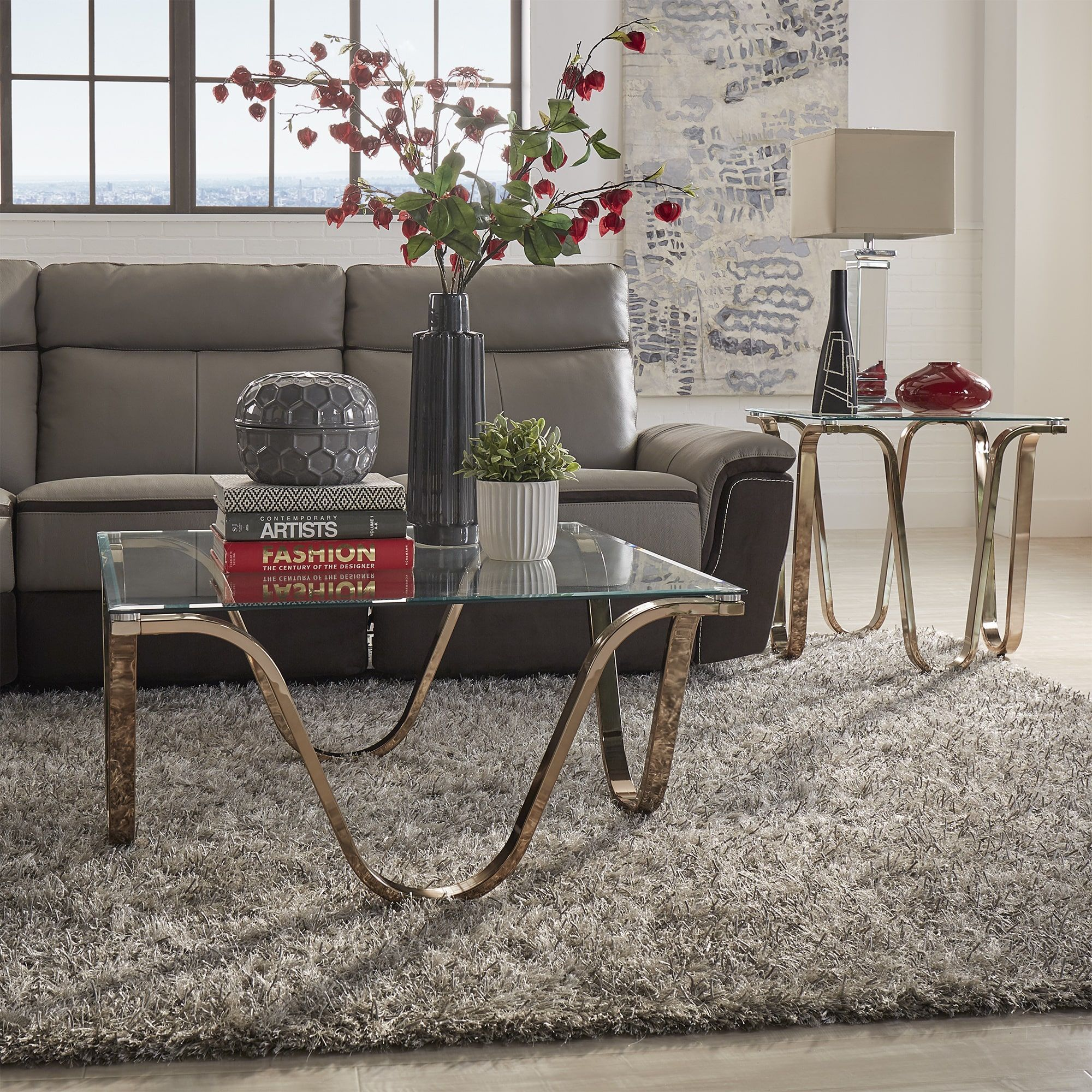 Reverberate Glass Top Champagne Gold Metal Occasional Tables iNSPIRE Q  Modern by iNSPIRE Q