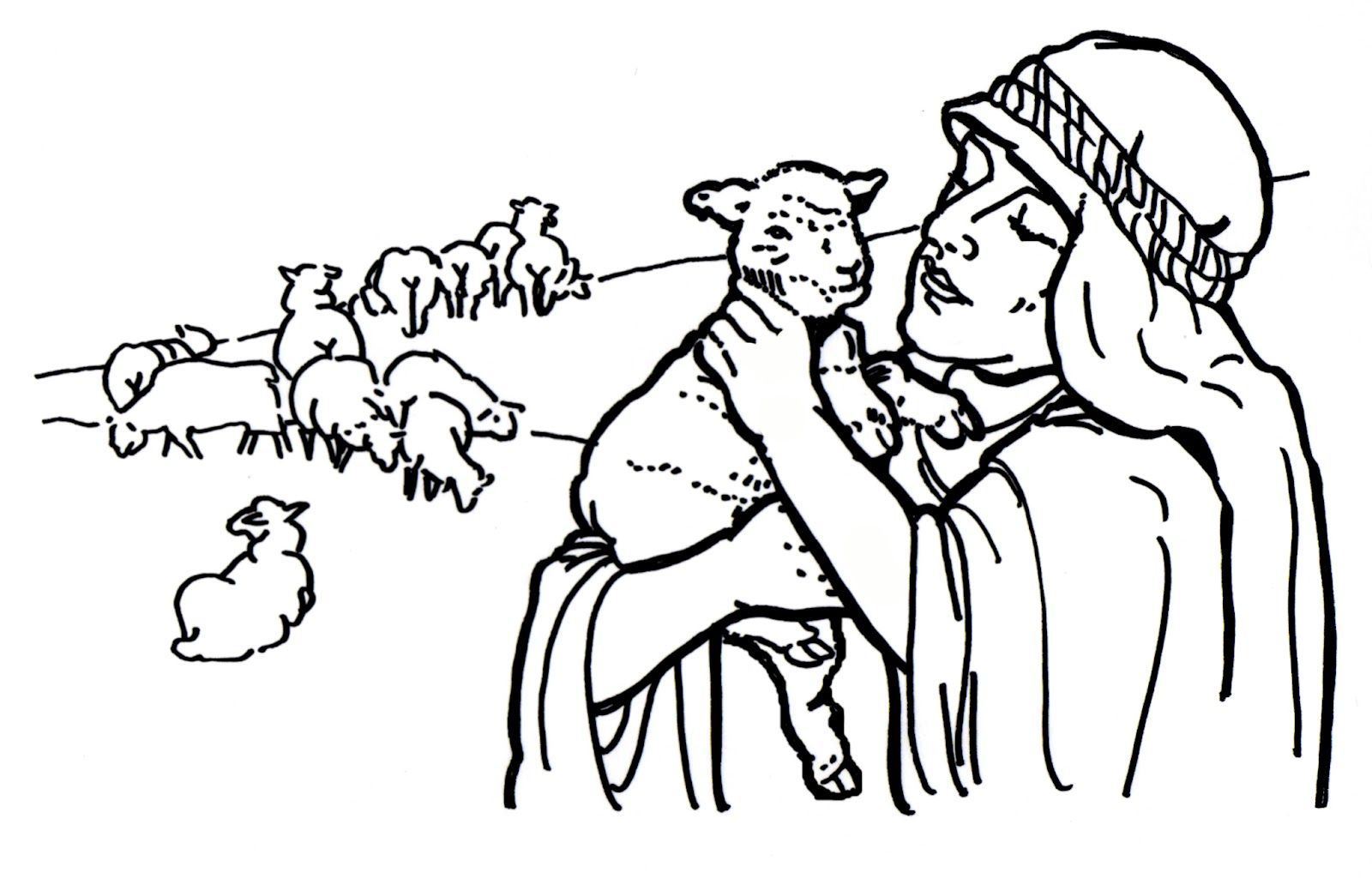 Good Shepherd and Lost Sheep Parable Coloring Pages | Karan\'s ...