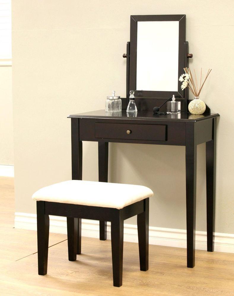 Wooden Vanity Mirror Retro Antique Espresso Make Up Vanity Mirror