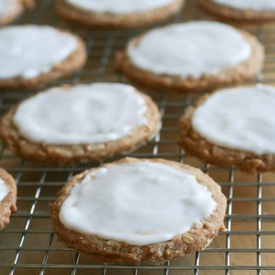 Crunchy oatmeal cookies with a light layer of icing.