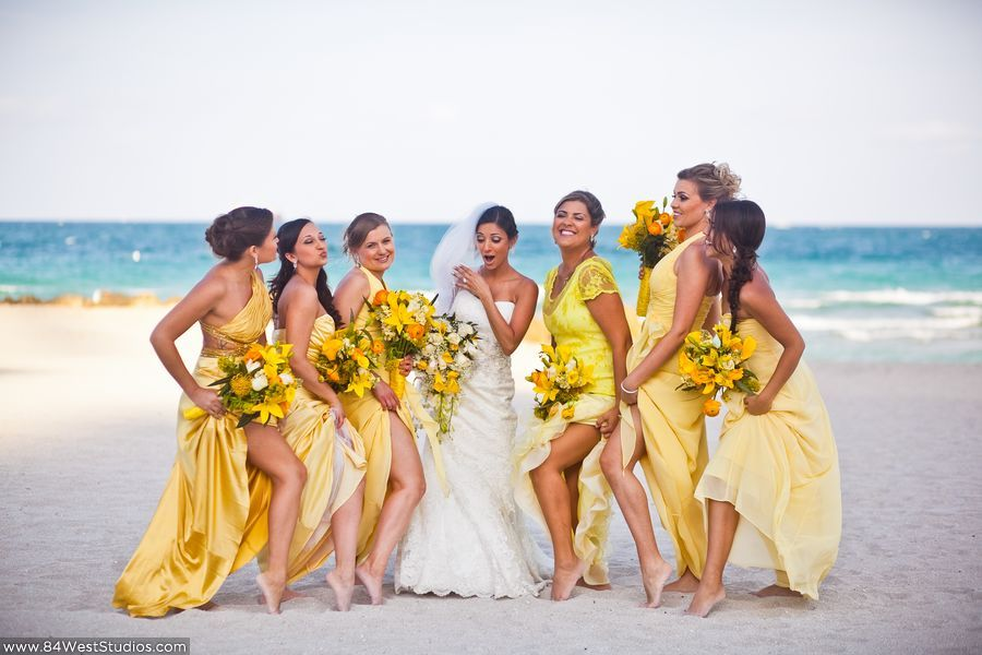 Yellow Bridesmaid Dresses Tatiana Amp Scott S Miami Beach Wedding At The Palms Hot Beach Wedding Bridesmaid Dresses Beach Wedding Yellow Miami Beach Wedding