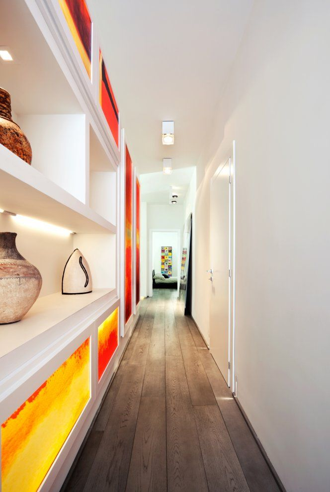If your kitchen is long and narrow, then you'll want a long and narrow island. Red & White Apartment   Hallway decorating, Hallway design, Apartment interior design