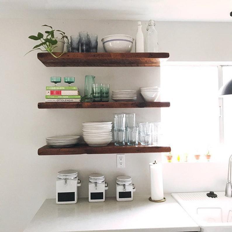 2 Rustic Floating Shelves Floating Kitchen Shelves Etsy Floating Shelves Reclaimed Wood Shelves Wood Floating Shelves