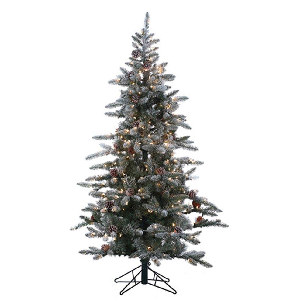 Sterling 6 Ft Pre Lit Lightly Flocked Artificial Mckinley Pine Christmas Tree 5832 60c At The Home Depo Full Christmas Tree Pine Christmas Tree Christmas Tree