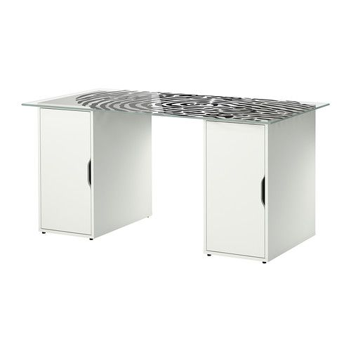 IKEA GLASHOLM/ALEX Table Glass/fingerprint Pattern White Cm The Table Top  In Tempered Glass Is Stain Resistant And Easy To Clean.