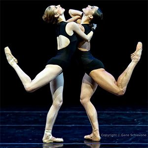 """Michele Wiles and Drew Jacoby performing in """"La Follia,"""" a contemporary choreography commissioned by Ballet Next from choreographer Mauro Bigonzetti. (Photo copyright by Gene Schiavone. Taken in November 2011 in performance at The Joyce Theater in New York.)"""