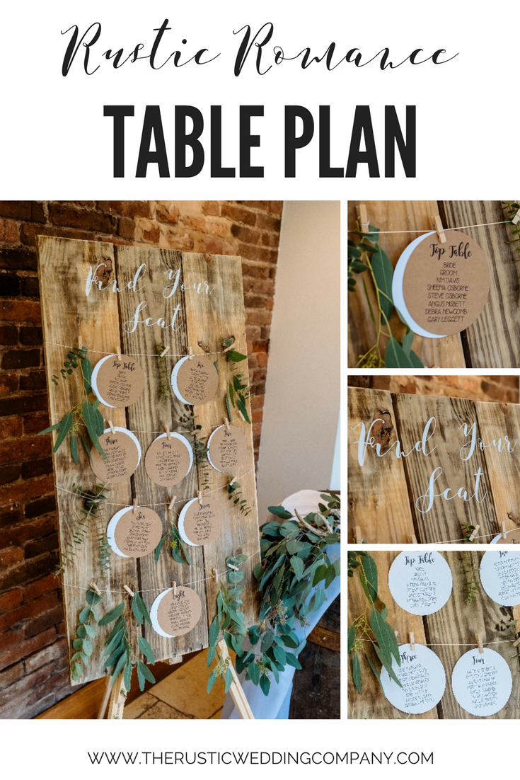 Rustic Romance Wooden Table Plan With Kraft Card Circles Seating