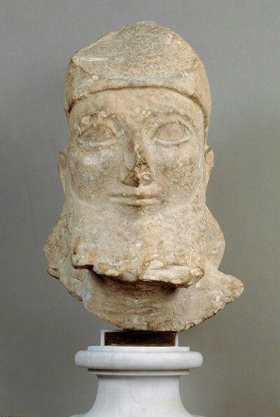 Kopf Bartiger Mann Zyprisch Eisenzeit Archaisch 6 Jh V Chr Ancient Greece Statue Art