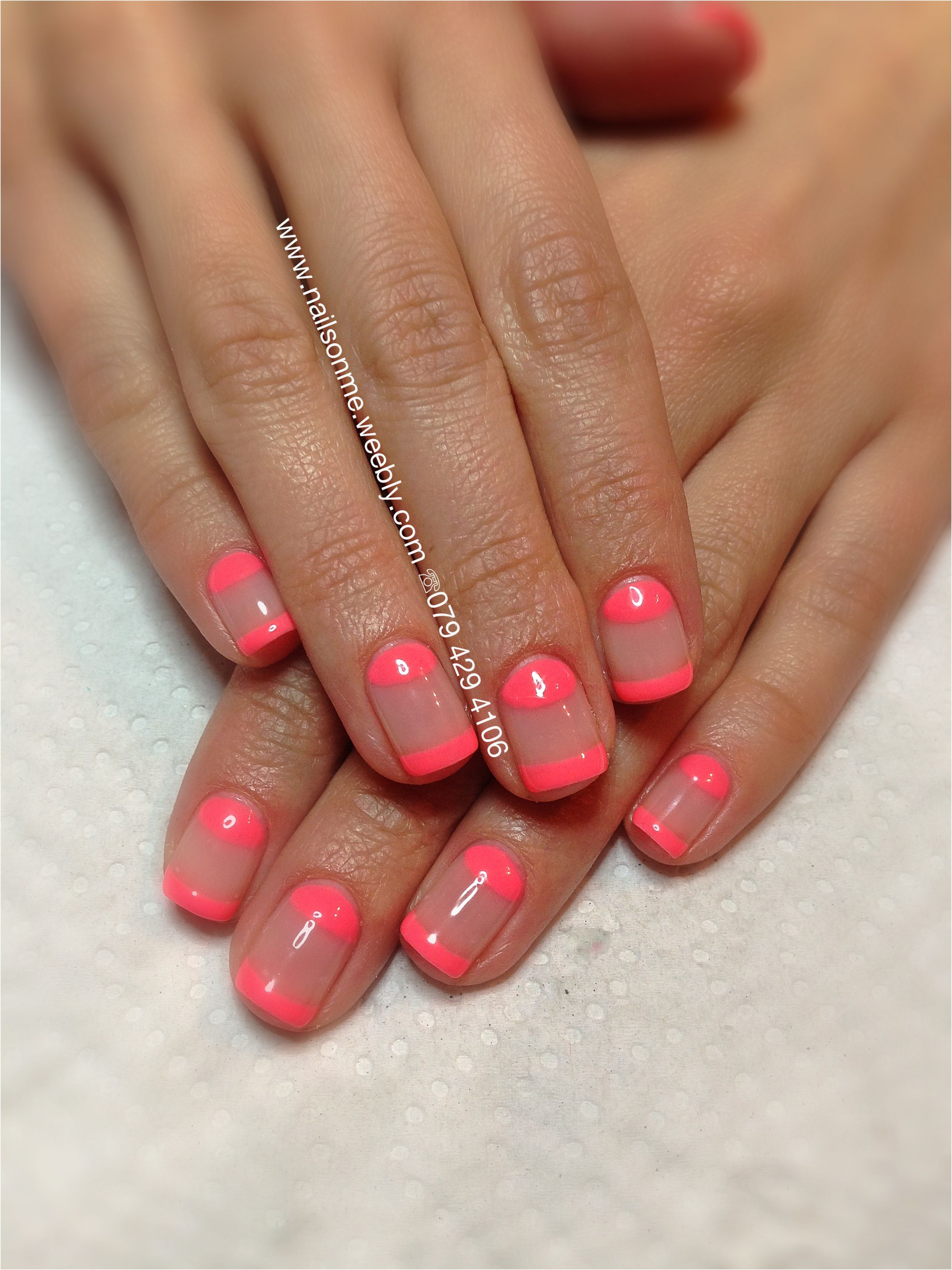 Neon funky gel french   Gel and Shellac Nails   Pinterest