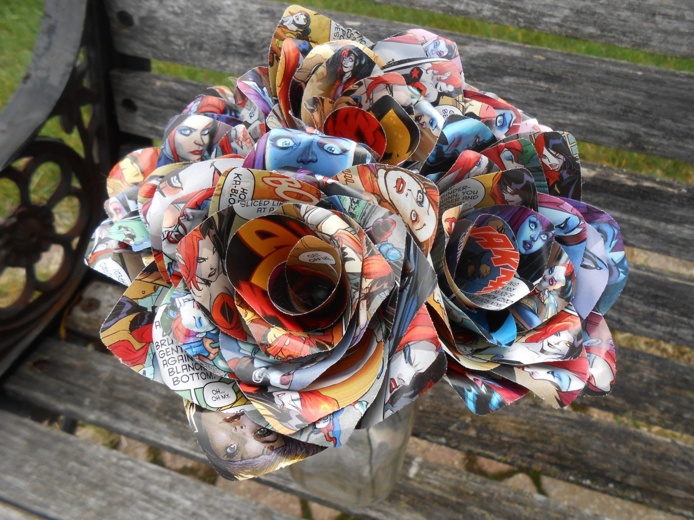 Comic Rose Paper Flower Bouquet First Anniversary Home Decor