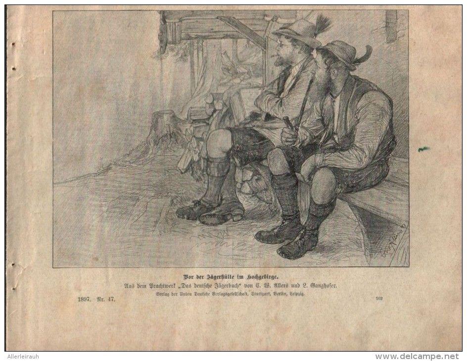 Vor Der Jagerhutte Im Hochgebirge Druck Ausgeschnitten Aus Die Gartenlaube 1897 Artikelnummer 397362743 Hochgebirge Gebirge Drucken