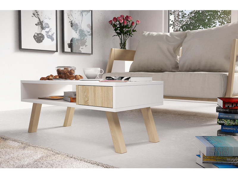 Table Basse Vero Bois Blanc Mat Effet Chene Pieds En Bois De Hetre Table Basse Table Basse Blanc Table De Salon
