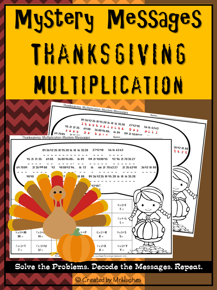 Multiplication Facts Math Mystery Messages - Thanksgiving Edition ...
