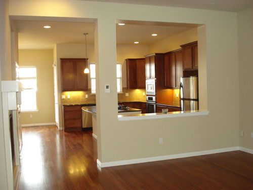 Kitchen With Half Wall To Dining Room Google Search Open Kitchen And Living Room Dining Room Remodel Half Walls