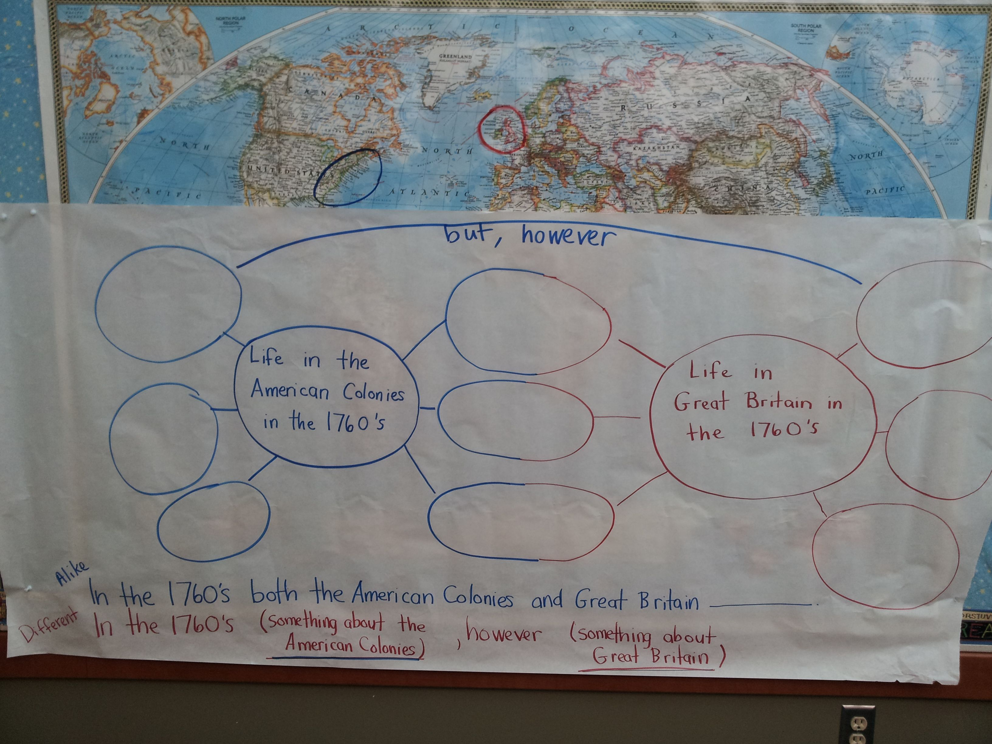 DoubleBubble Map Outline Only And Sentence Frames Comparing And - Us colonies and england world map