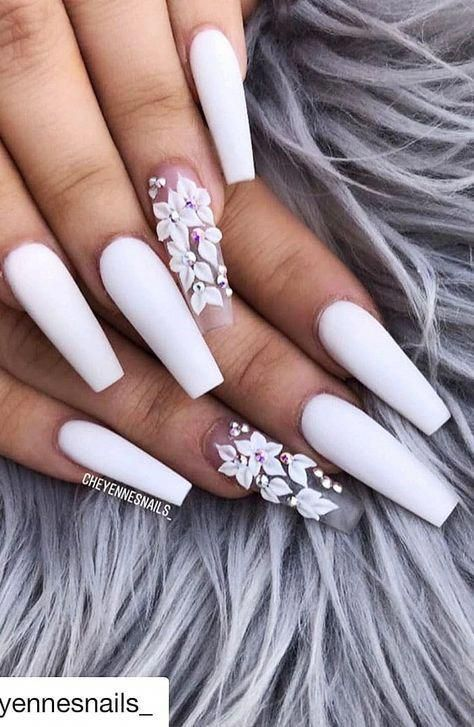 Welcome To Our 2019 Summer Gallery Of Glamorous Acrylic Coffin Nails We Are Sure That You Will Fin In 2020 White Acrylic Nails Coffin Nails Designs Best Acrylic Nails