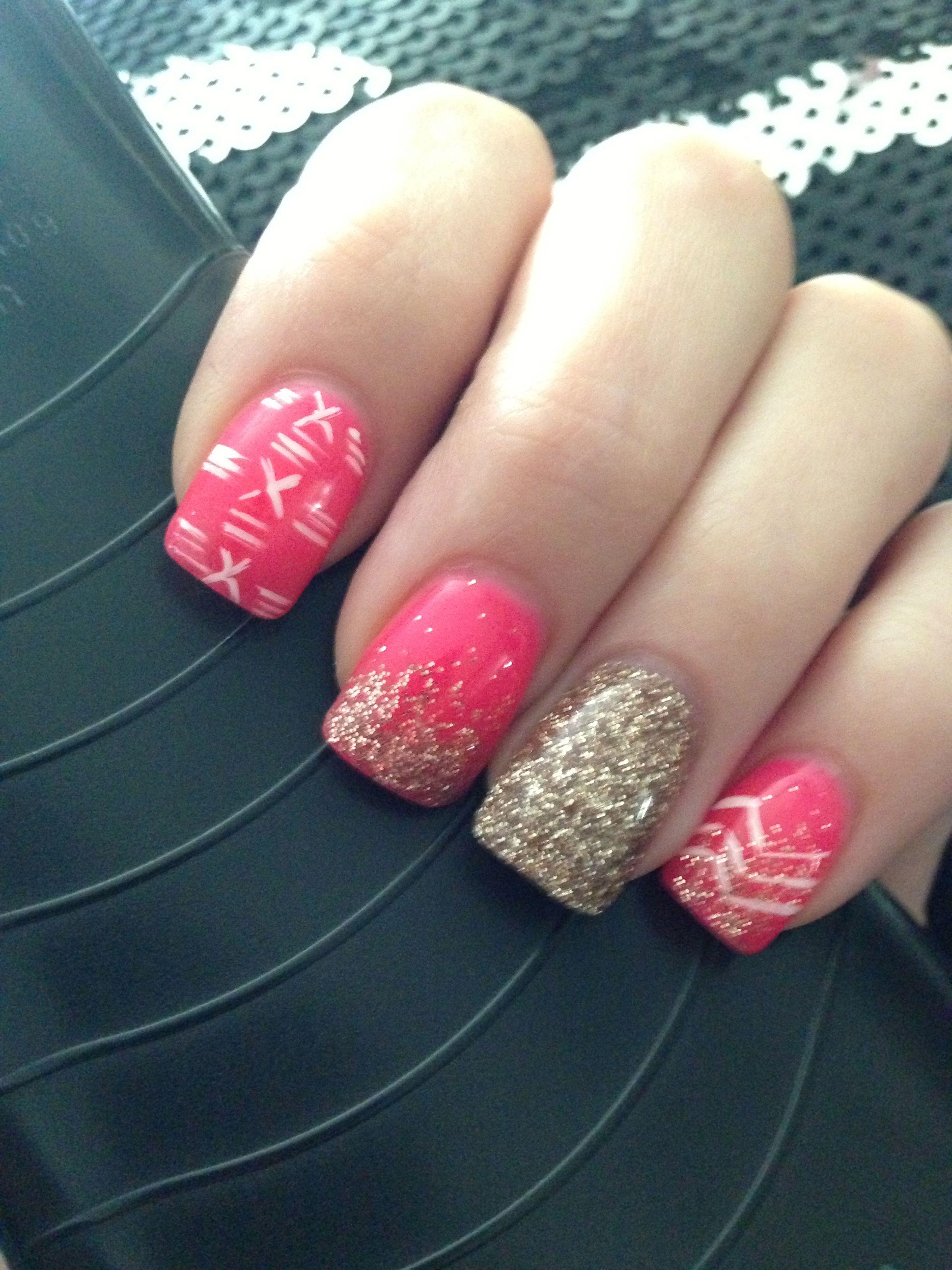 My Hot Pink & Gold Glitter Nails Gold glitter Gel Hot pink nails ...
